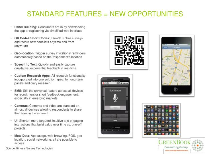 STANDARD FEATURES = NEW OPPORTUNITIES