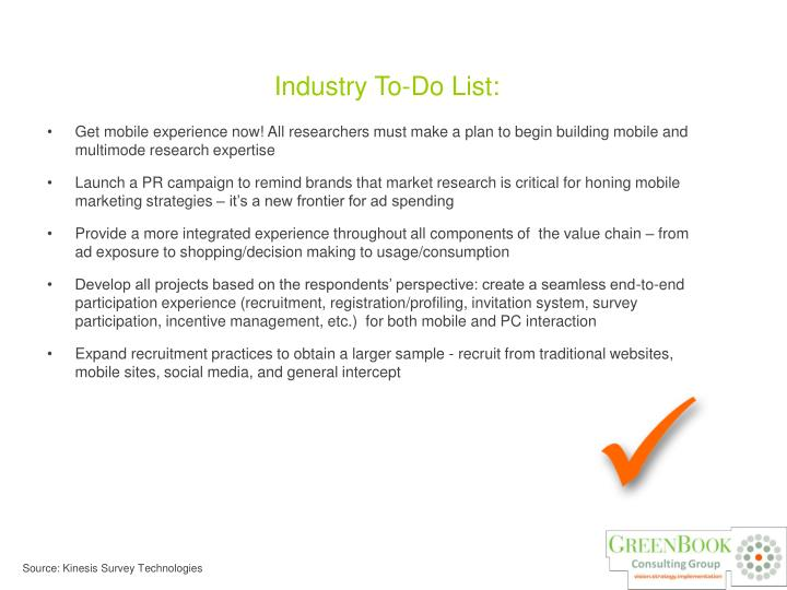 Industry To-Do List: