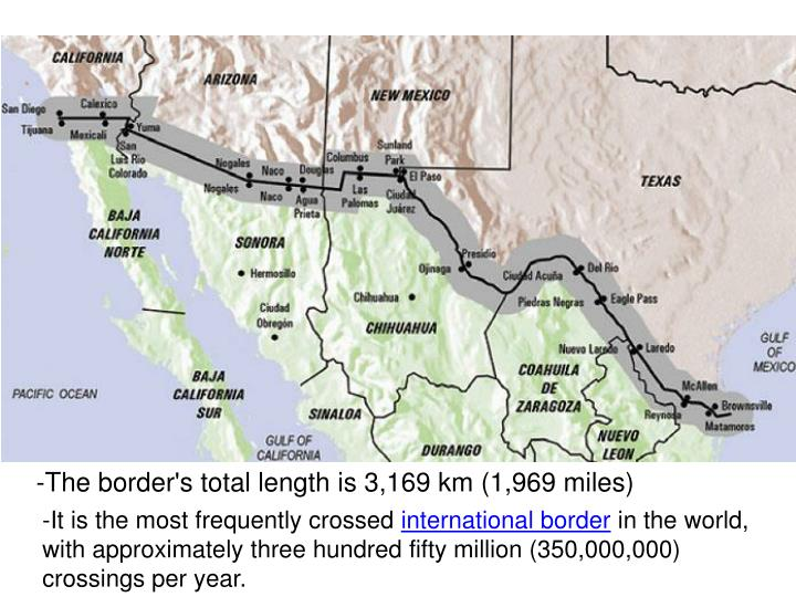 -The border's total length is 3,169 km (1,969 miles)