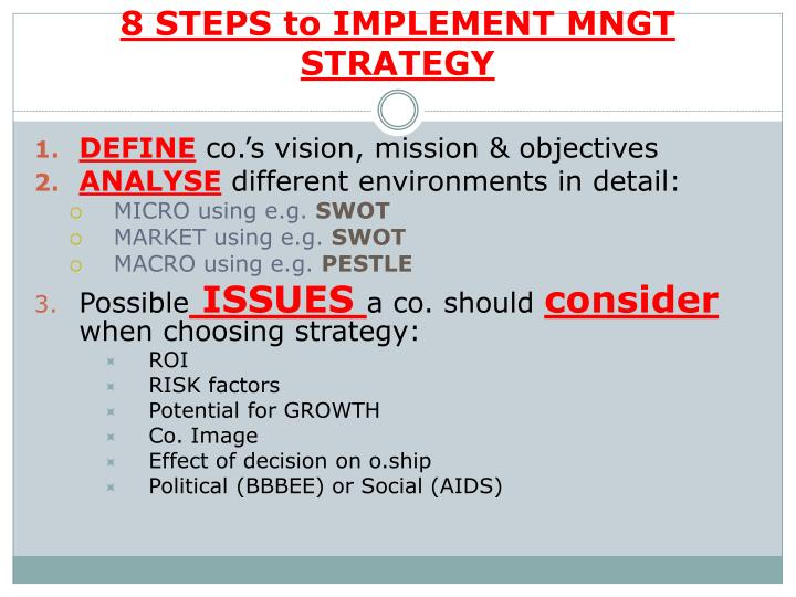 8 STEPS to IMPLEMENT MNGT STRATEGY