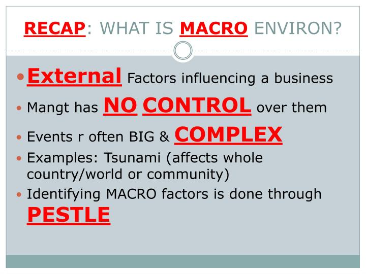 Recap what is macro environ