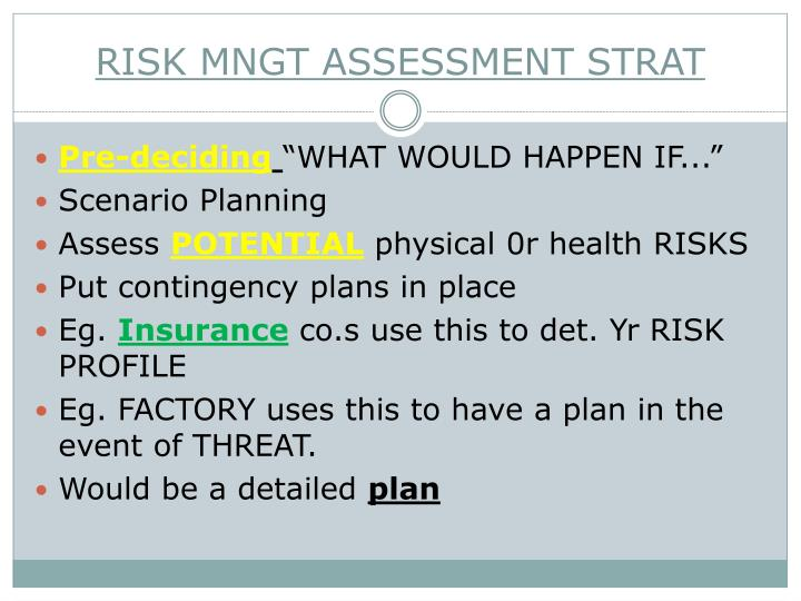 RISK MNGT ASSESSMENT STRAT