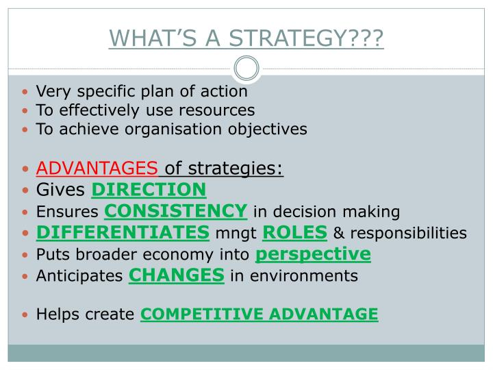 WHAT'S A STRATEGY???