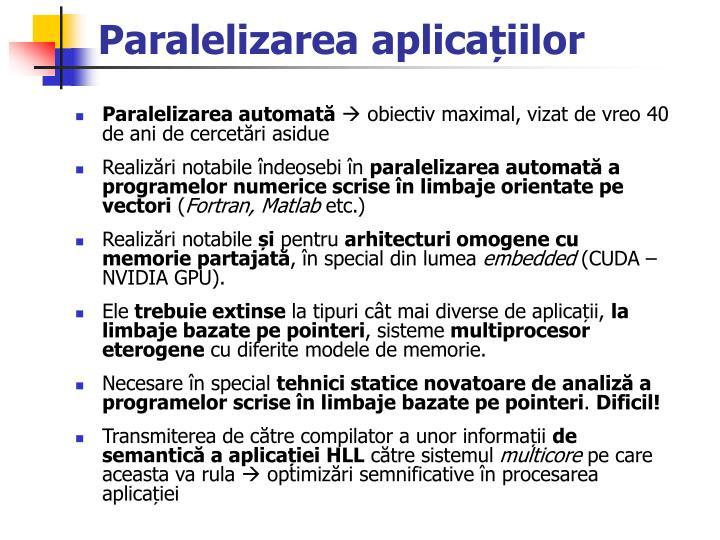 Paralelizarea aplica