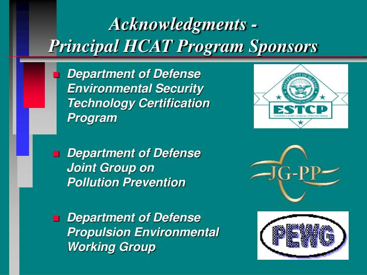 Acknowledgments principal hcat program sponsors