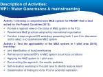 description of activities wp1 water governance mainstreaming