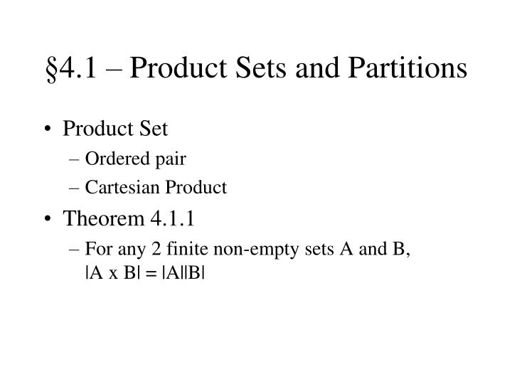 4 1 product sets and partitions