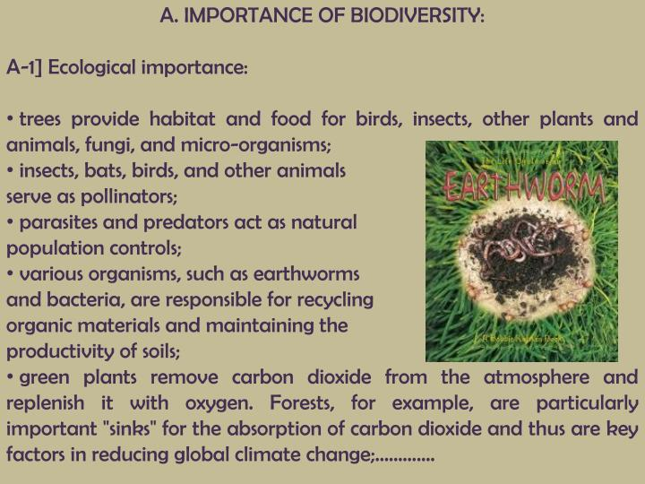 A. IMPORTANCE OF BIODIVERSITY: