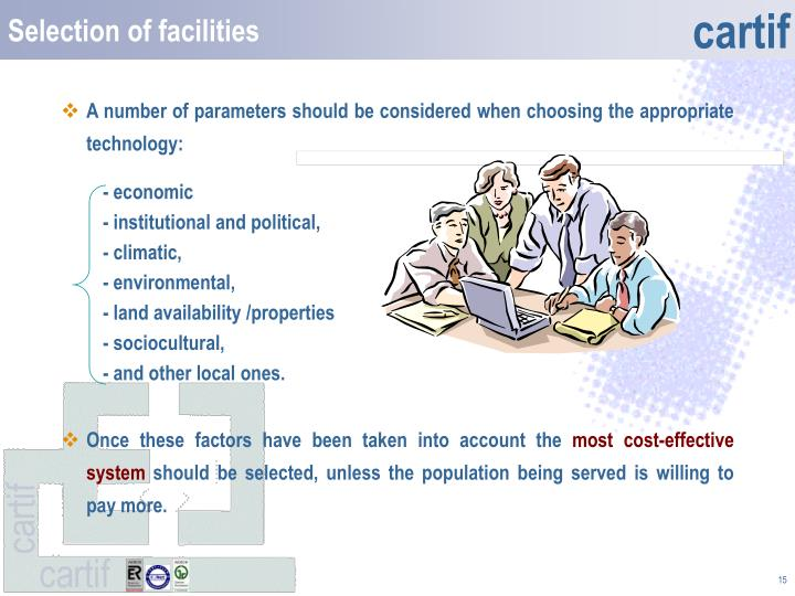 Selection of facilities
