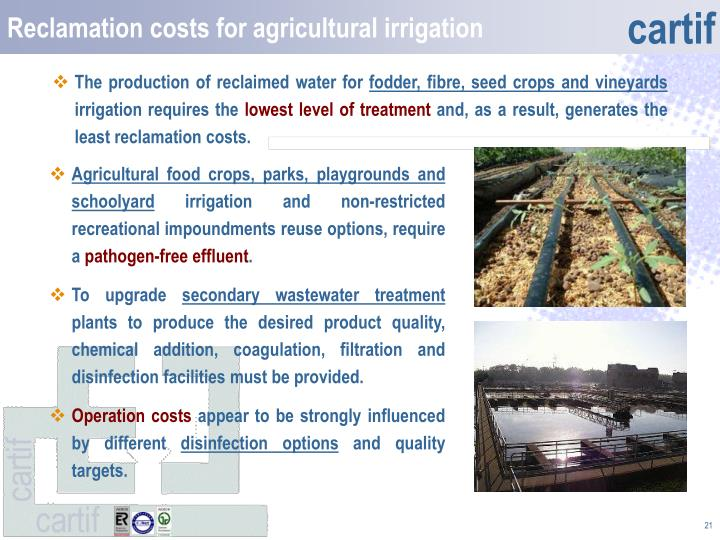 Reclamation costs for agricultural irrigation