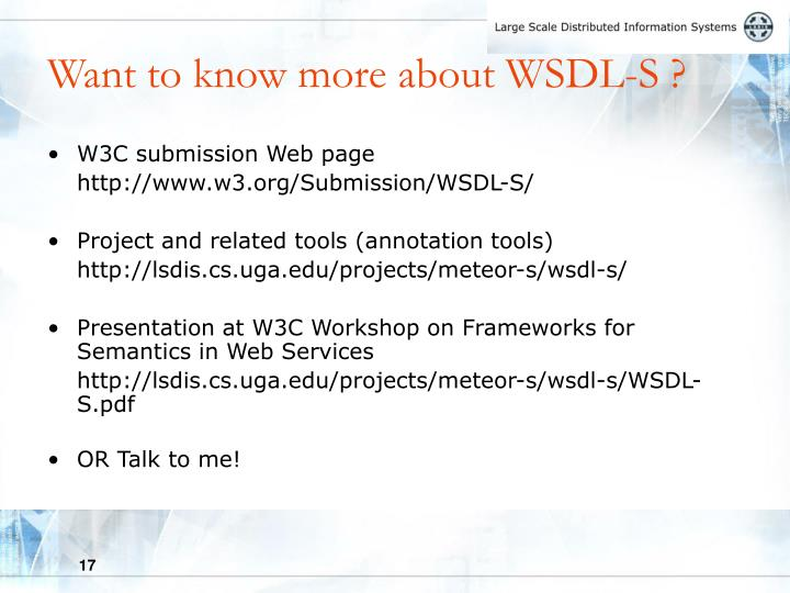Want to know more about WSDL-S ?