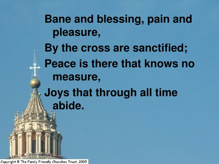 Bane and blessing, pain and pleasure,