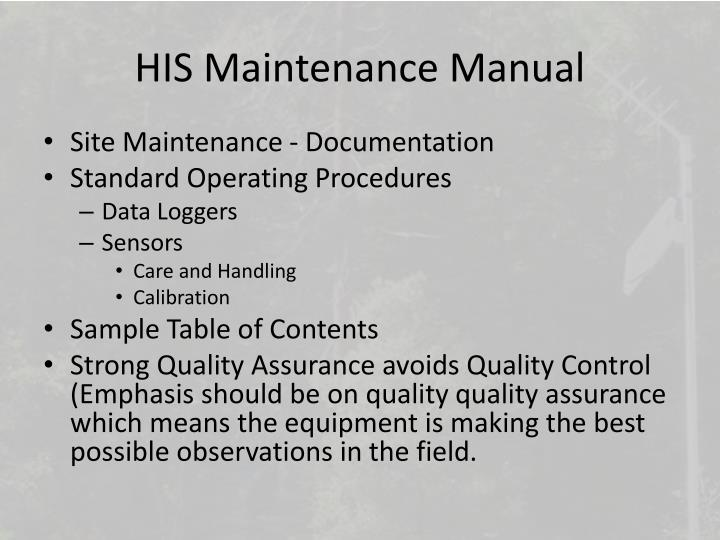 HIS Maintenance Manual