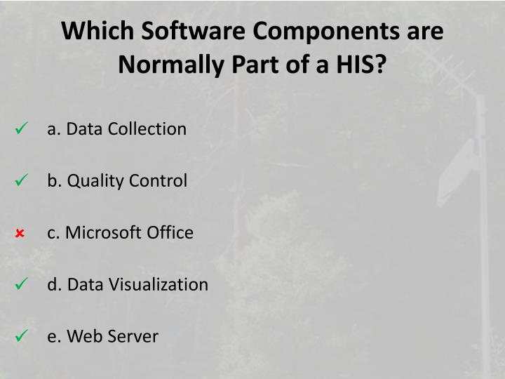 Which Software Components are Normally Part of a HIS?