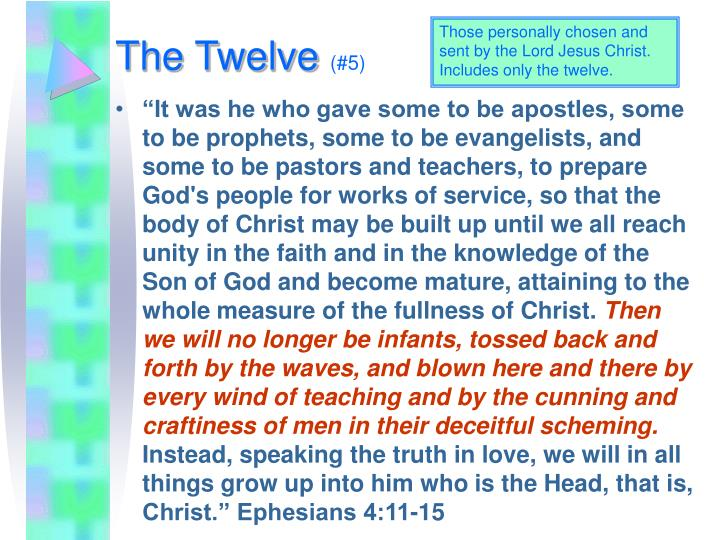 Those personally chosen and sent by the Lord Jesus Christ. Includes only the twelve.