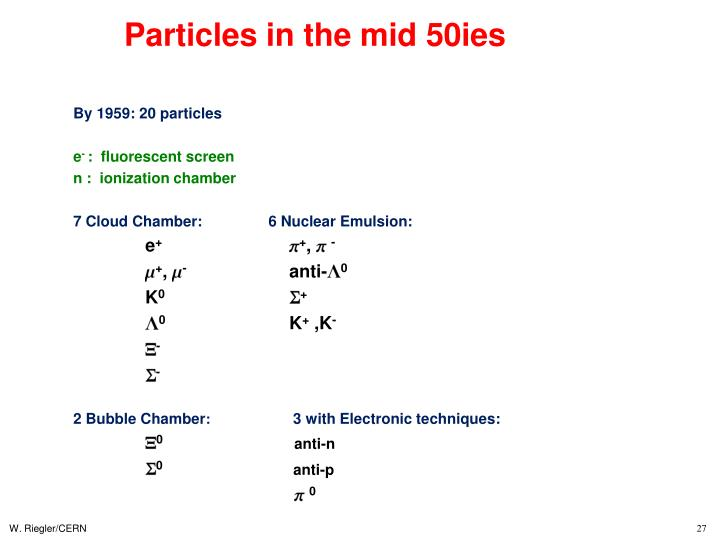 Particles in the mid 50ies