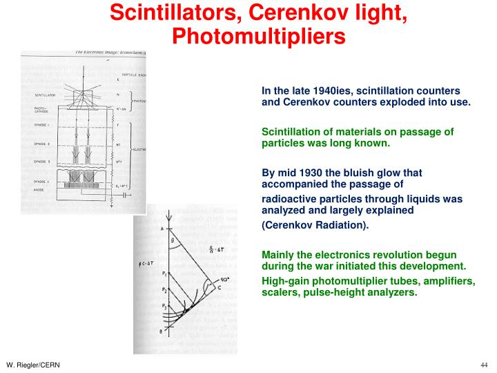Scintillators, Cerenkov light, Photomultipliers