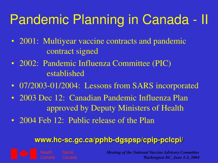 Pandemic Planning in Canada - II
