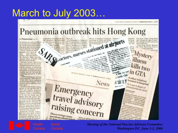March to July 2003…