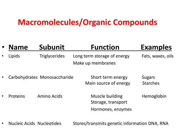 Macromolecules/Organic Compounds