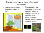 tropism is any type of cause effect plant movement