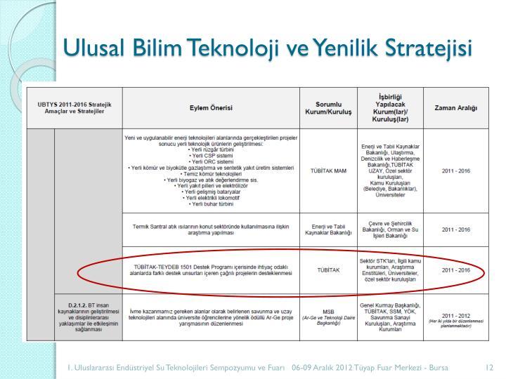 Ulusal Bilim Teknoloji ve Yenilik Stratejisi