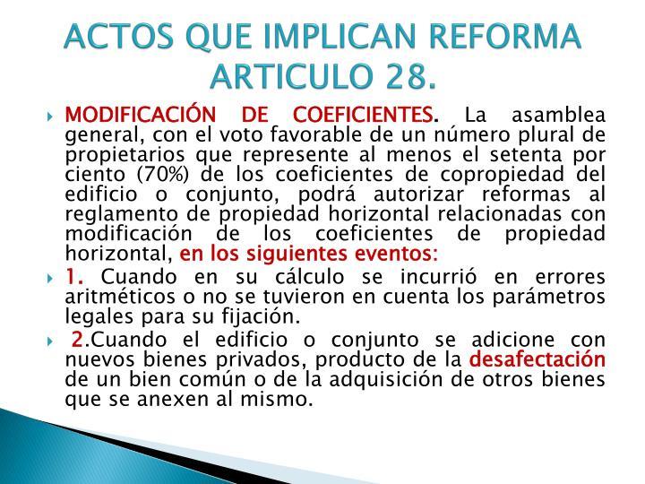 Actos que implican reforma articulo