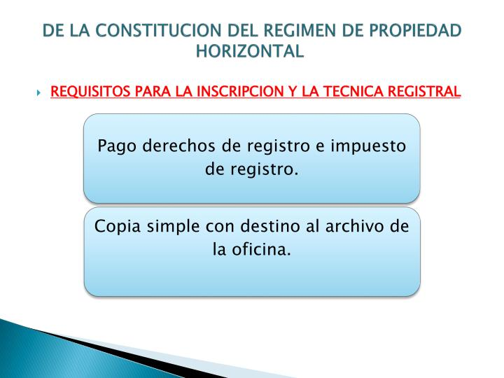 DE LA CONSTITUCION DEL REGIMEN DE PROPIEDAD HORIZONTAL