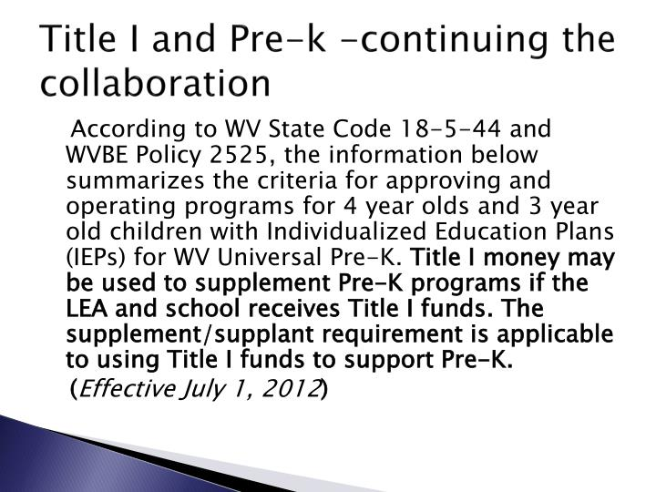 Title I and Pre-k -continuing the collaboration
