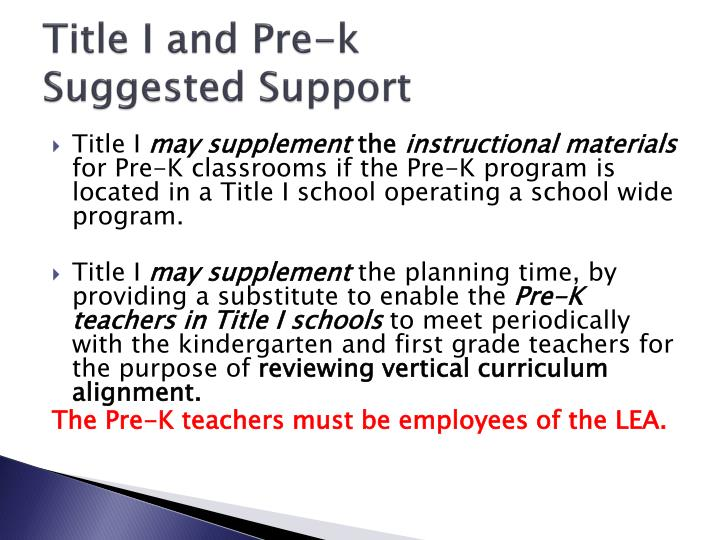 Title I and Pre-k