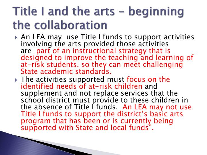 Title I and the arts – beginning the collaboration
