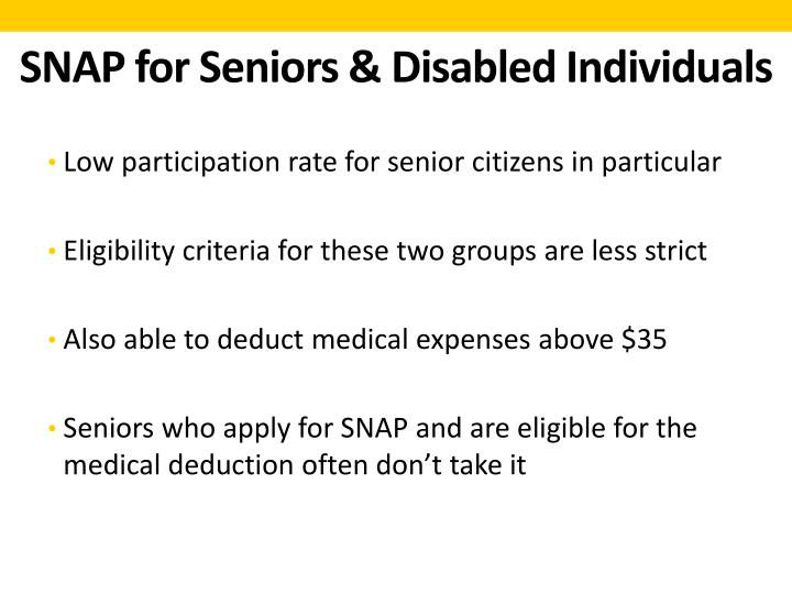 SNAP for Seniors & Disabled Individuals