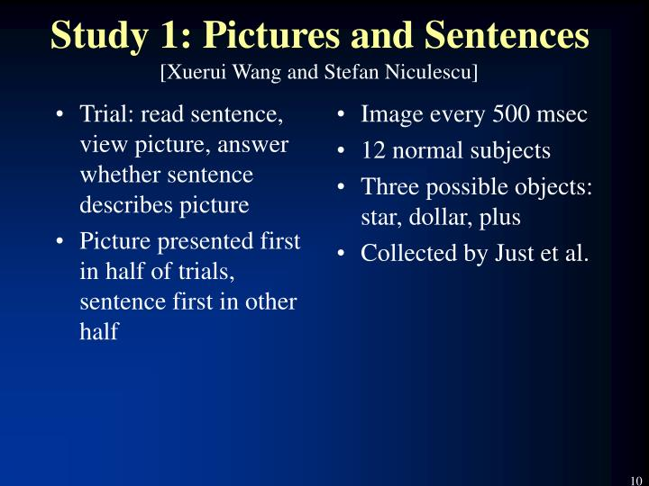 Trial: read sentence, view picture, answer whether sentence describes picture