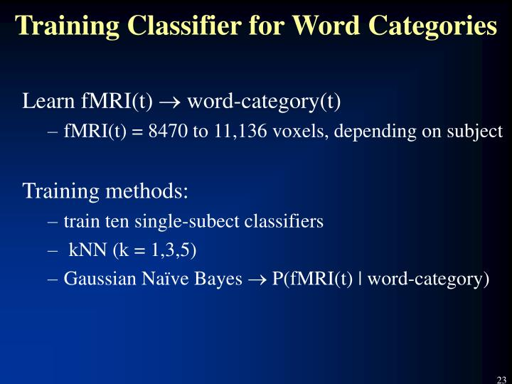 Training Classifier for Word Categories