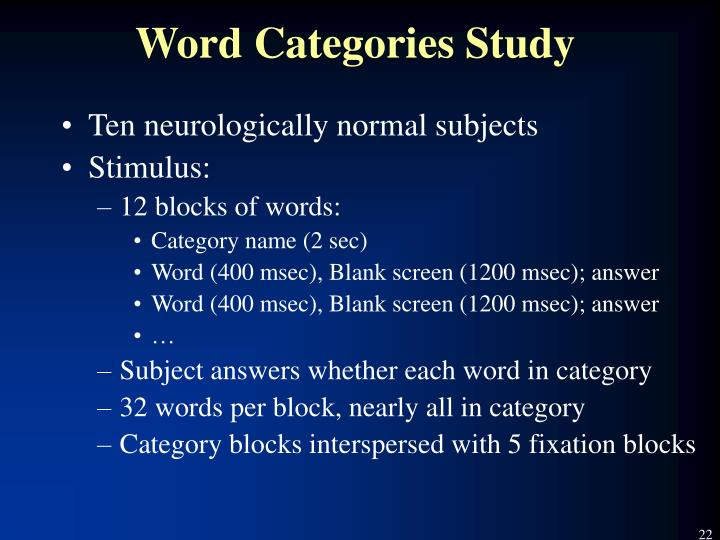 Word Categories Study