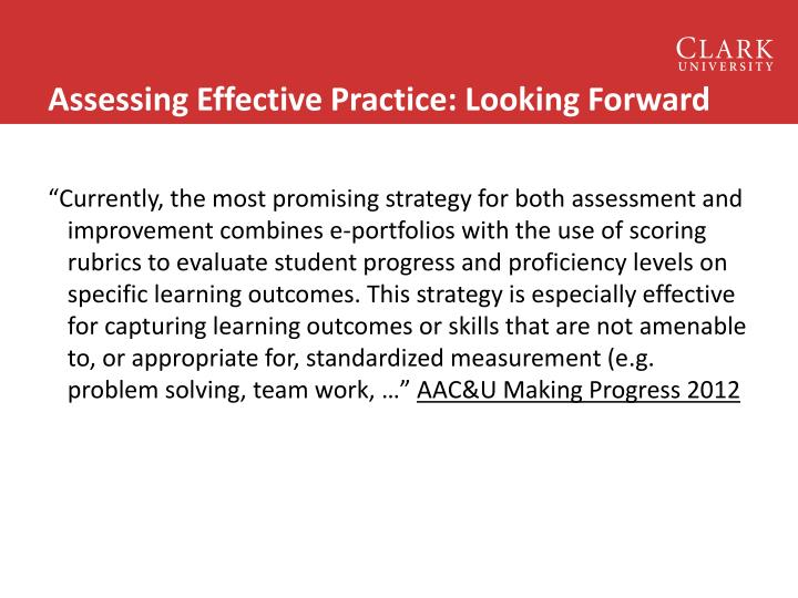 Assessing Effective Practice: Looking Forward