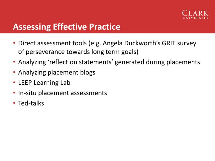 Assessing Effective Practice