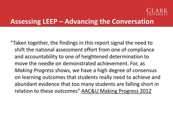 Assessing LEEP – Advancing the Conversation