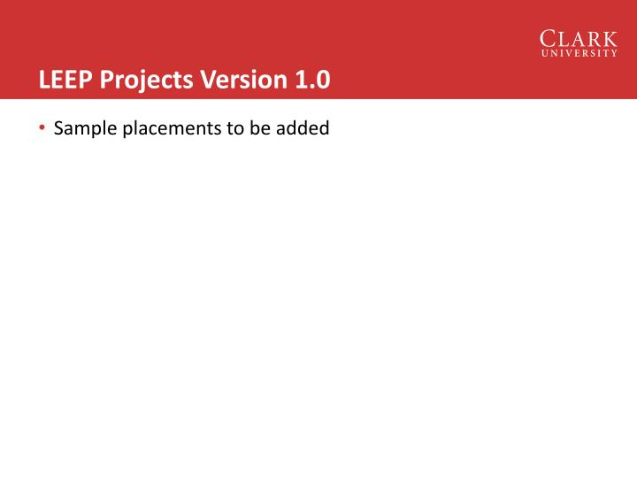 LEEP Projects Version 1.0
