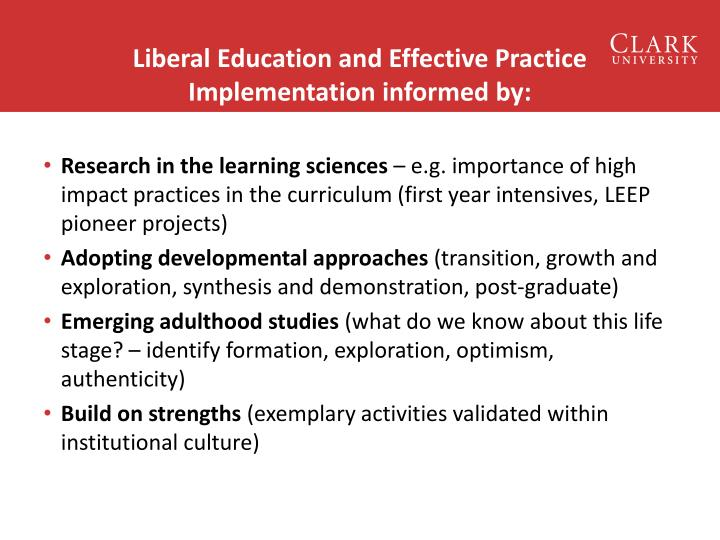 Liberal Education and Effective Practice