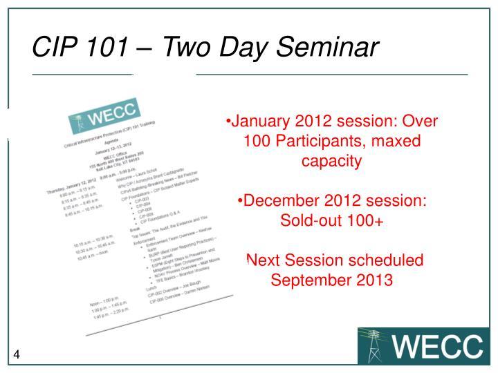 CIP 101 – Two Day Seminar