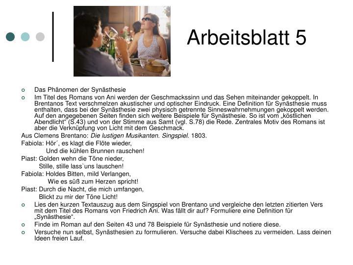 Arbeitsblatt 5