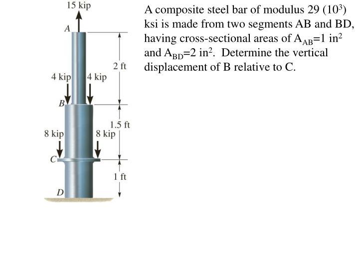 A composite steel bar of modulus 29 (10