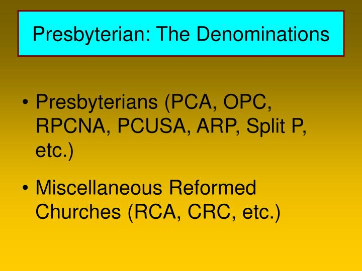 Presbyterian: The Denominations