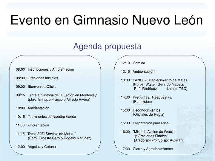Evento en Gimnasio Nuevo León