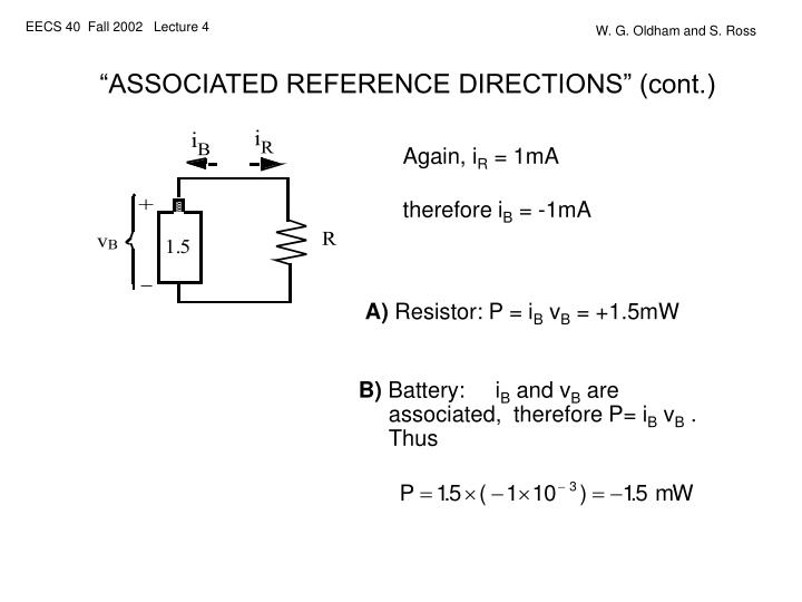 """ASSOCIATED REFERENCE DIRECTIONS"" (cont.)"