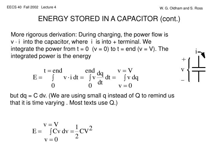 ENERGY STORED IN A CAPACITOR (cont.)