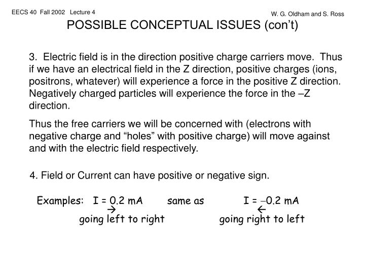 POSSIBLE CONCEPTUAL ISSUES (con't)