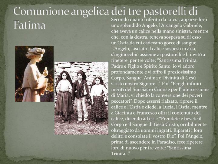 Comunione angelica dei tre pastorelli di Fatima