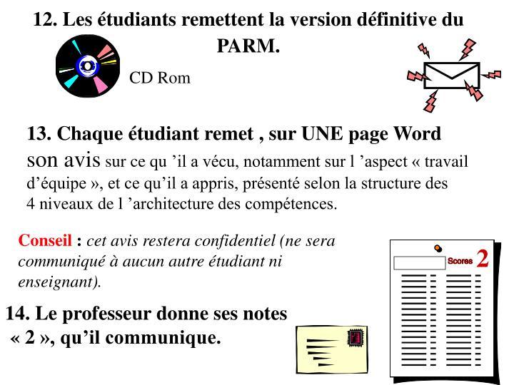 12. Les étudiants remettent la version définitive du PARM.